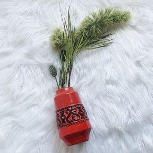 Vintage Red Orange Vase